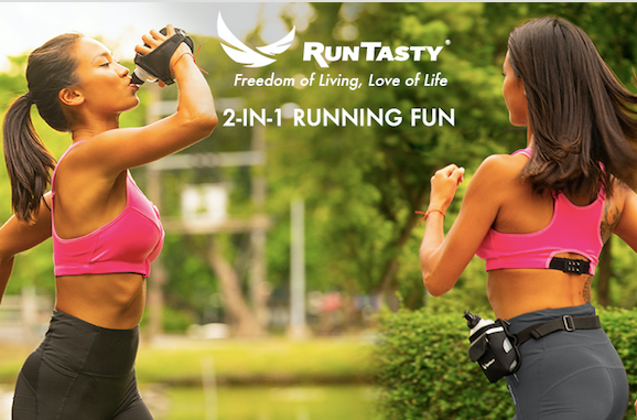 Runtasty 2-in-1 Running Fun: Handheld 12 oz Water Bottle Holder & Running Belt Add-on - Ideal for Running, Walking, Fitness, Hiking, Climbing and more!