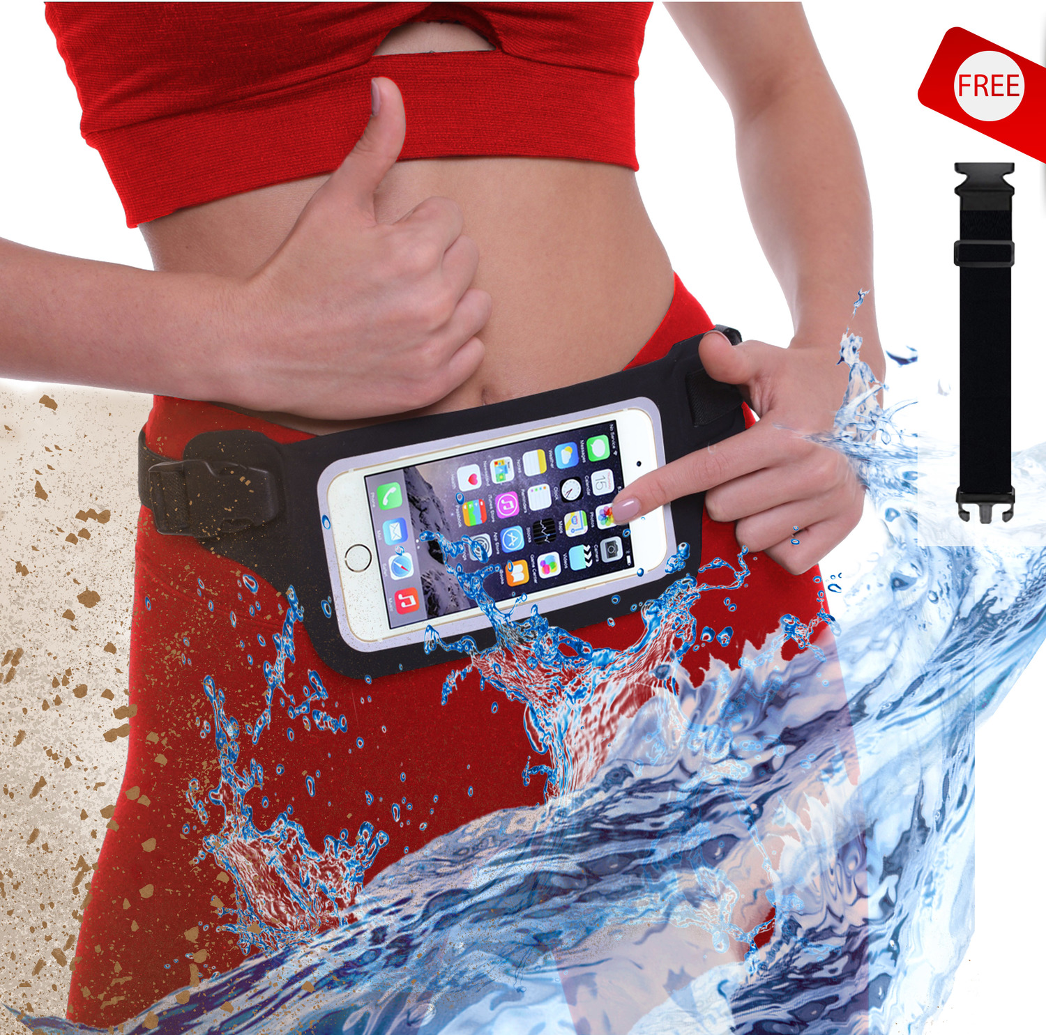 New Waterproof Running Belt Fanny Pack for iPhone 7, X, 8 and Samsung S7/8/9 (Slim Case) - W/Touchscreen Ready Window - IPX8 Rated Submersible Waist Bag for Fitness, Travel, Beach, Kayaking, Swimming and more!